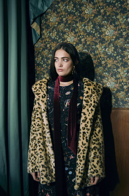 Girl in Leopard skin coat